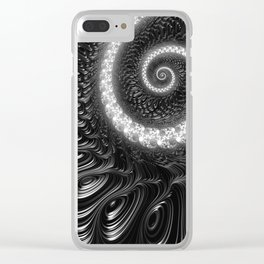 Fractal Spiral in Black and White Clear iPhone Case