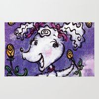 poodle Area & Throw Rugs featuring Perky Poodle by Alicia Templin