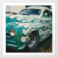 Green Flame Hotrod Art Print