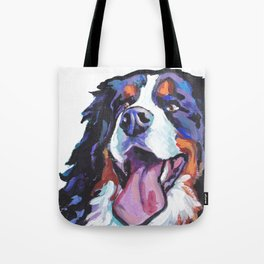 Berner Bernese Mountain Dog Portrait Pop Art painting by Lea Tote Bag