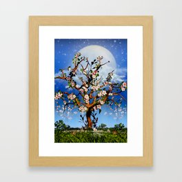 Cherry blossom trees under moonlight Framed Art Print