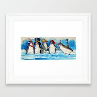 penguins Framed Art Prints featuring penguins by oxana zaika