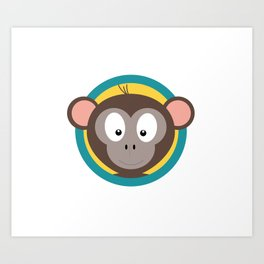 Cute Monkey Head with blue cirlce Art Print