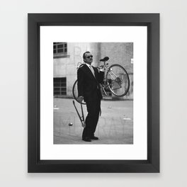 Bill F Murray stealing a bike. Rushmore production photo. Framed Art Print