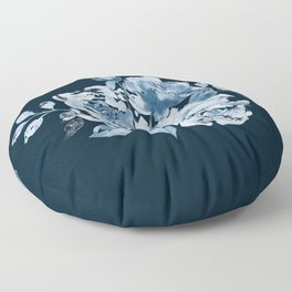 Country Rose on Indigo Floor Pillow