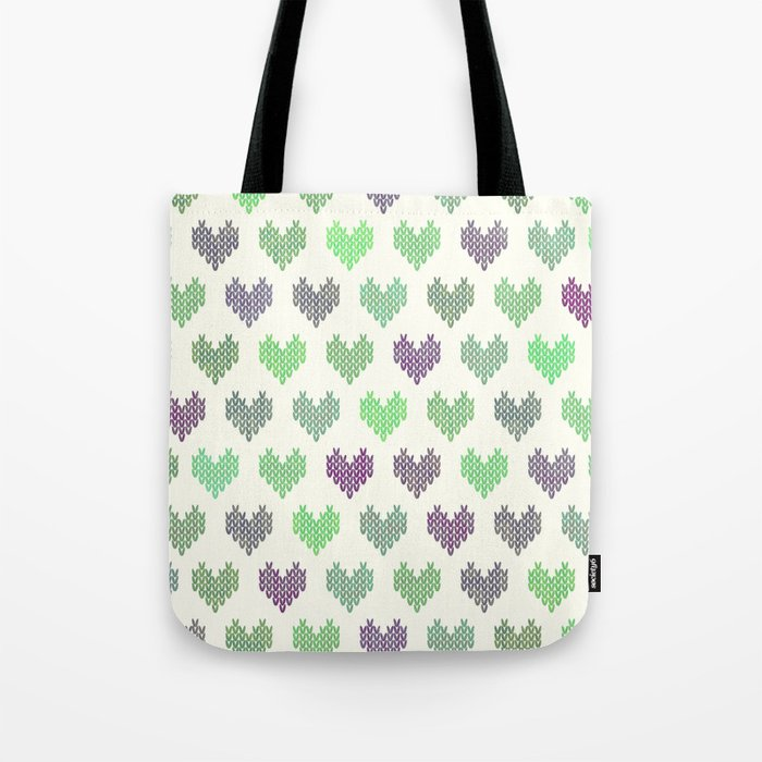 Colorful Knitted Hearts IV Tote Bag