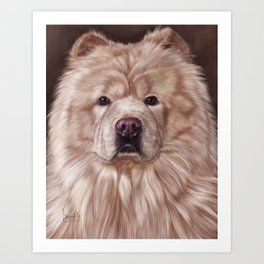 Cream Chow Chow Painting Portrait Art Print