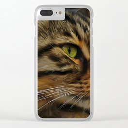 Aslan The Long Haired Tabby Cat Clear iPhone Case