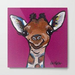 Giraffe Painting, Pink Giraffe, Safari Art Metal Print