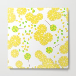 Candy sweets of lemon lollypops Metal Print