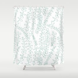 Round Eucalyptus Leaf Toss in White + Sage Shower Curtain
