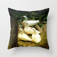 duck Throw Pillows featuring duck by gzm_guvenc
