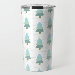 Pastel Christmas Trees (White) Travel Mug