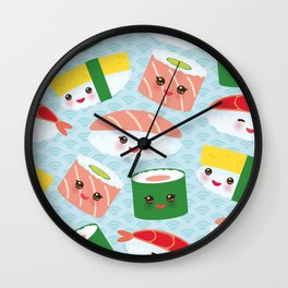 pattern Kawaii funny sushi rolls set with pink cheeks and big eyes, emoji Wall Clock
