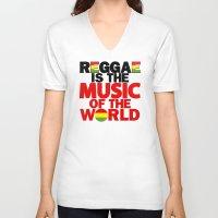 reggae V-neck T-shirts featuring Reggae Music by Ahfimi Brands
