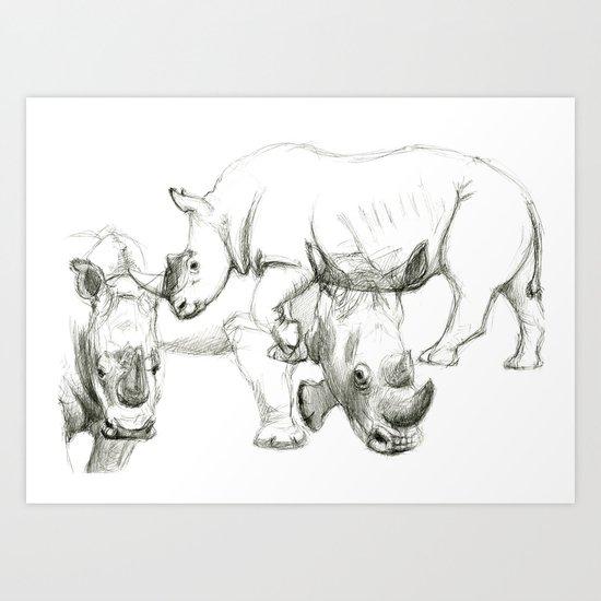 Rhinoceros study SK045 Art Print