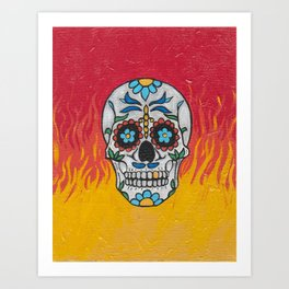 DAY OF THE DEAD - FLAMING RED VOODOO Art Print