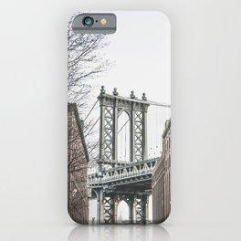 Manhattan bridge from DUMBO, Brooklyn, New York city, Washington Street, Williamsburg photography iPhone Case