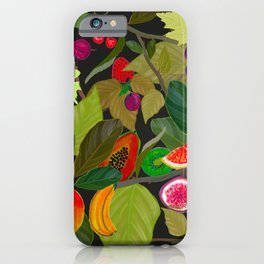 Gardener's Delight plum, fig tree and summer fruits pattern iPhone Case