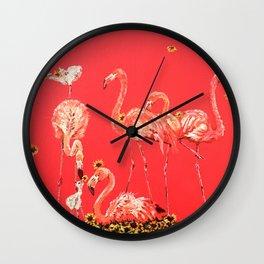 Sunning Flamingos Wall Clock