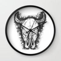 bull Wall Clocks featuring BULL by Morgan Ralston