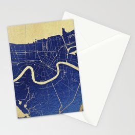New Orleans Blue and Gold Map Stationery Cards