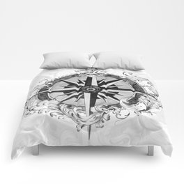 Black and White Scrolling Compass Rose Comforters