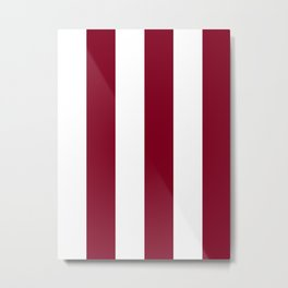 Wide Vertical Stripes - White and Burgundy Red Metal Print