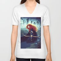 merida V-neck T-shirts featuring Brave - Merida by Juniper Vinetree