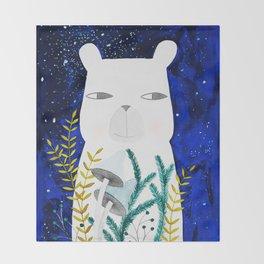 polar bear with botanical illustration in blue Throw Blanket