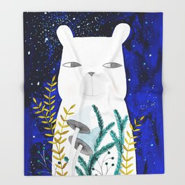 polar bear with botanical illustration in blue Throw Blanket