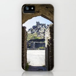 Looking through a Stone Mughal Design Arch towards Peak of Golconda Fort in Hyderabad, India iPhone Case