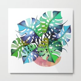 Watercolor Monstera Or One Fine Swiss Cheese Plant Metal Print