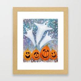 3 ghosts, 4 pumpkins Framed Art Print