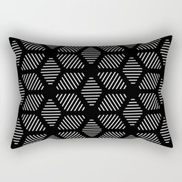 Geometric Line Lines Diamond Shape Tribal Ethnic Pattern Simple Simplistic Minimal Black and White Rectangular Pillow