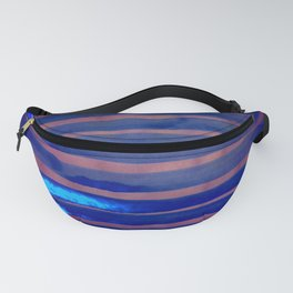 Blue Ice Lines Stripe Fanny Pack