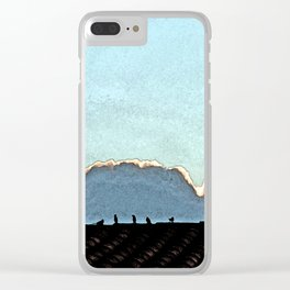 Sparrows on a roof at sunset Clear iPhone Case