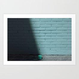 Blue and shady cube Art Print