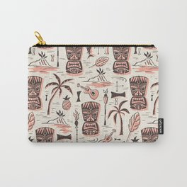 Tropical Tiki - Cream Pink Carry-All Pouch
