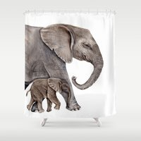 elephants Shower Curtains featuring Elephants by Goosi