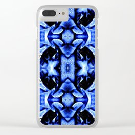 Blue Black  Fantasy Pattern Clear iPhone Case