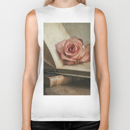 Still life with pink rose and old books Biker Tank