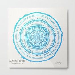 Quaking Aspen – Blue Ombré Tree Rings Metal Print
