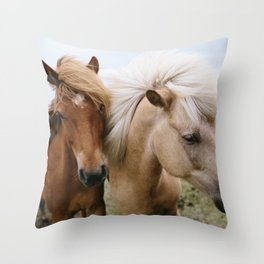 Iceland Horses Throw Pillow