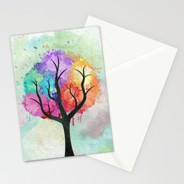 Awesome abstract pastel colors oil paint tree of Life Stationery Cards