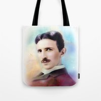 tesla Tote Bags featuring Tesla by Mamboo