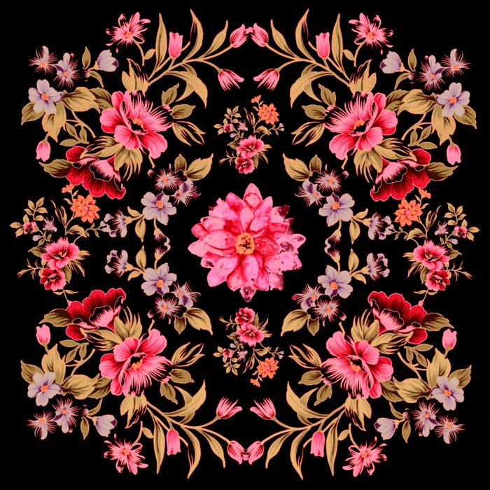 pink folk floral on black background Comforters