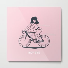 Bike Gang Girl (Boy Bye) - Pink Metal Print