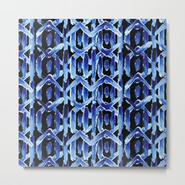 "Black and Blue Watercolor Pattern ""Rain Chain"" Metal Print"