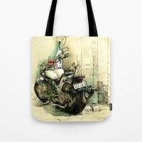 motorbike Tote Bags featuring Slimedog Motorbike  by danielbrunkert